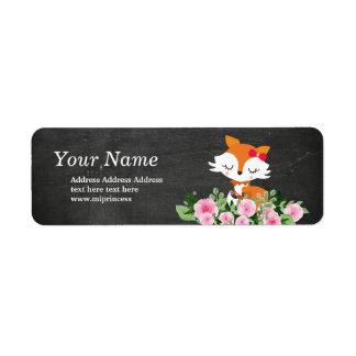 cute fox  return address stickers return address label