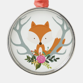 Cute Fox Silver-Colored Round Decoration