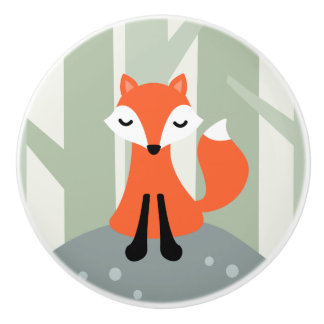 Cute fox sitting on forest rock ceramic knob
