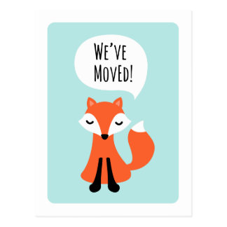 Cute fox we have moved change of address moving postcard