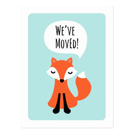 Cute fox we have moved change of address moving post card