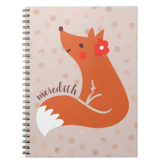 Cute Fox With Blush Confetti Background Journal/ Notebooks