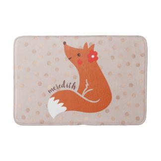 Cute Fox With Flower/Blush Confetti Background Bath Mat