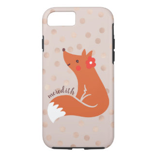 Cute Fox With Flower/Blush Confetti Background iPhone 8/7 Case