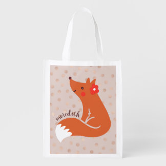 Cute Fox With Flower/Blush Confetti Background Reusable Grocery Bag