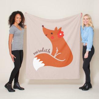 Cute Fox With Flower Fleece Blanket