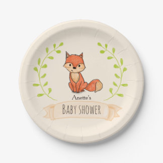Cute Fox Woodland Baby Shower 7 Inch Paper Plate