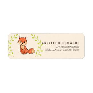 Cute Fox Woodland Baby Shower Return Address Label