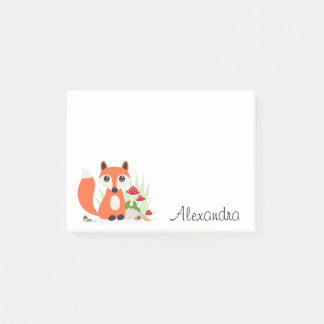 Cute fox woodland personalized name post-it notes