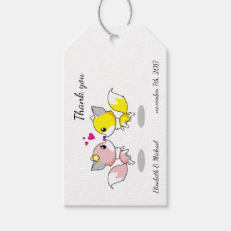Cute foxes cartoon thank you wedding or engagement gift tags