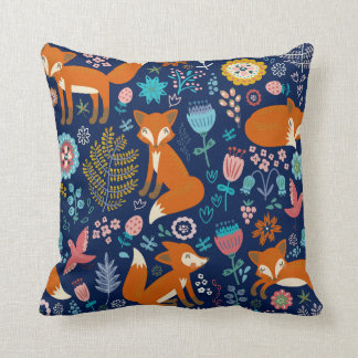 Cute Foxes & Colorful Flowers Pattern Throw Pillow