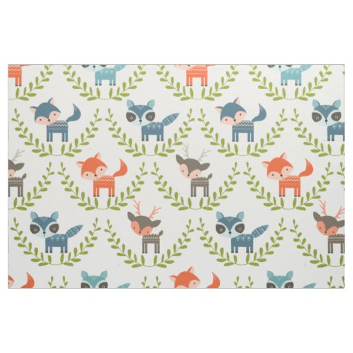 Cute Foxes & Deer With Green Wreath Pattern