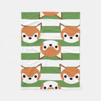 Cute Foxes & Green Stripes Fleece Blanket