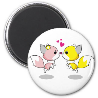 Cute foxes in love cartoon 6 cm round magnet