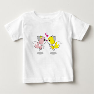 Cute foxes in love cartoon baby shirt