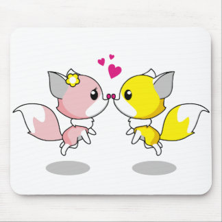 Cute foxes in love cartoon girls mouse pad