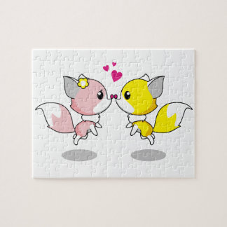 Cute foxes in love cartoon girls puzzle
