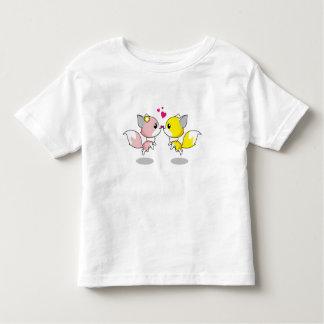 Cute foxes in love cartoon t-shirts
