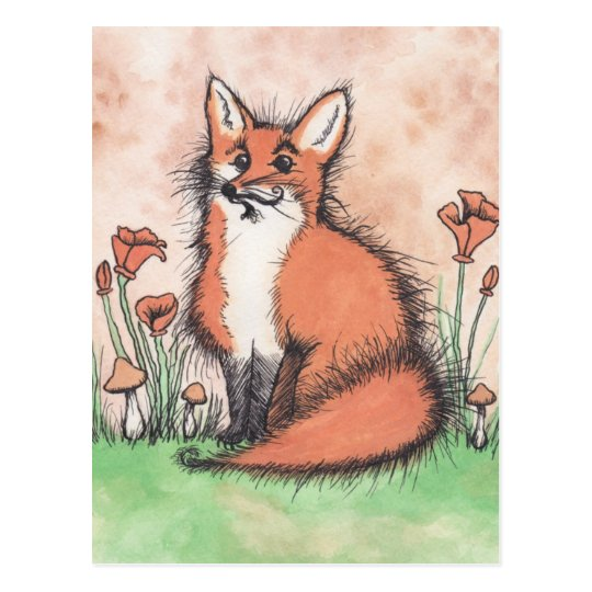 Cute Foxie & Flowers Postcard