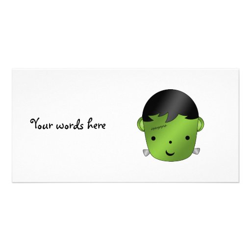 Cute Frankenstein monster Personalized Photo Card