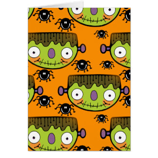 Cute Frankenstein, Spider Halloween Card