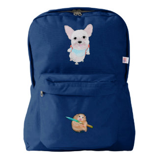 Cute French bulldog and funny hamster Backpack