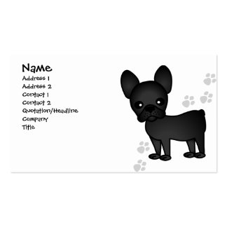 Cute French Bulldog Cartoon Black Business Card