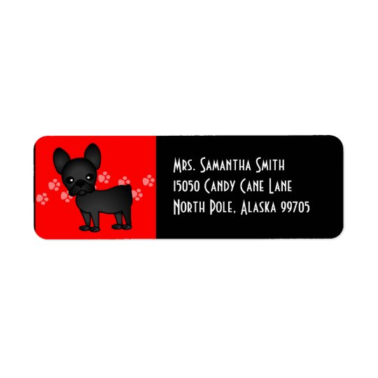 Cute French Bulldog Cartoon Black Return Address Label