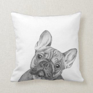 Cute French Bulldog cushion by Tracy Stone