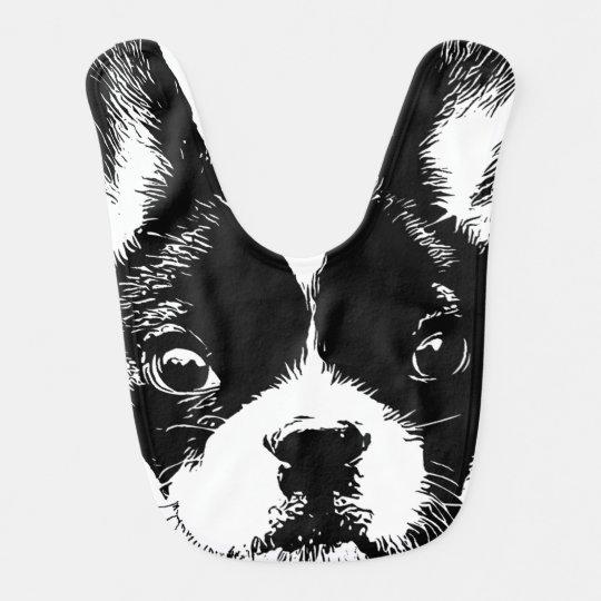 Cute French Bulldog Dog Face Bib