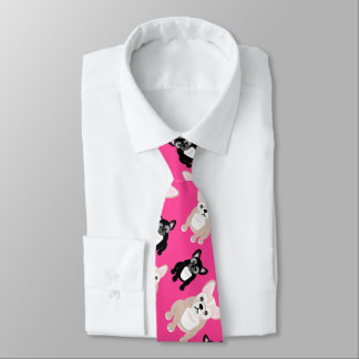 Cute French Bulldog Frenchies Hot Pink Tie