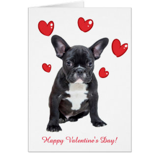 Cute French Bulldog Hearts Valentine Greeting Card