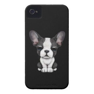 Cute French Bulldog Puppy Dog on Black iPhone 4 Cases