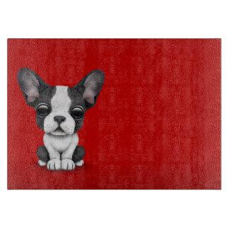 Cute French Bulldog Puppy Dog on Red Cutting Boards