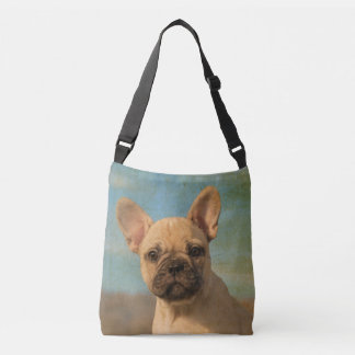 Cute French Bulldog Puppy Dog Portrait Photo - on Crossbody Bag