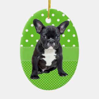 Cute French Bulldog Puppy Green Polka Dots Ceramic Oval Decoration