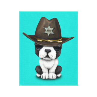 Cute French Bulldog Puppy Sheriff Canvas Print