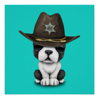 Cute French Bulldog Puppy Sheriff Poster
