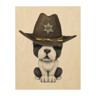 Cute French Bulldog Puppy Sheriff Wood Canvas