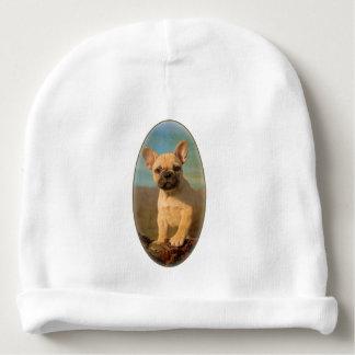 Cute French Bulldog puppy, vintage Baby Beanie