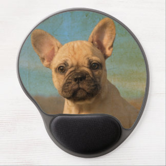 Cute French Bulldog puppy, vintage Gel Mouse Pad
