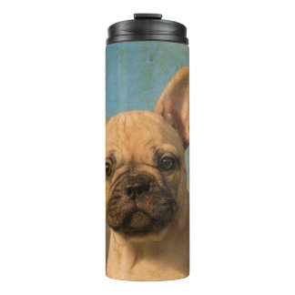 Cute French Bulldog Puppy Vintage Portrait Photo - Thermal Tumbler