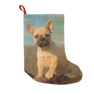 Cute French Bulldog Puppy Vintage Santa mantle Small Christmas Stocking