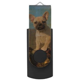 Cute French Bulldog puppy, vintage Swivel USB 2.0 Flash Drive