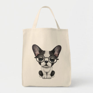 Cute French Bulldog Puppy with Glasses Tote Bag