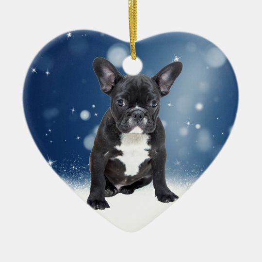 Cute French Bulldog Snow Stars Blue Christmas Christmas