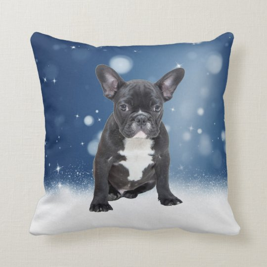 Cute French Bulldog Snow Stars Blue Christmas Cushion