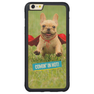 Cute French Bulldog Superhero Runs in Grass Carved Maple iPhone 6 Plus Bumper Case