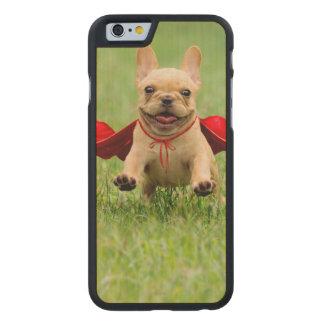 Cute French Bulldog Superhero Runs in Grass Carved® Maple iPhone 6 Slim Case