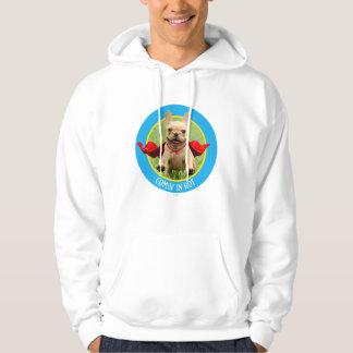 Cute French Bulldog Superhero Runs in Grass Hoodie